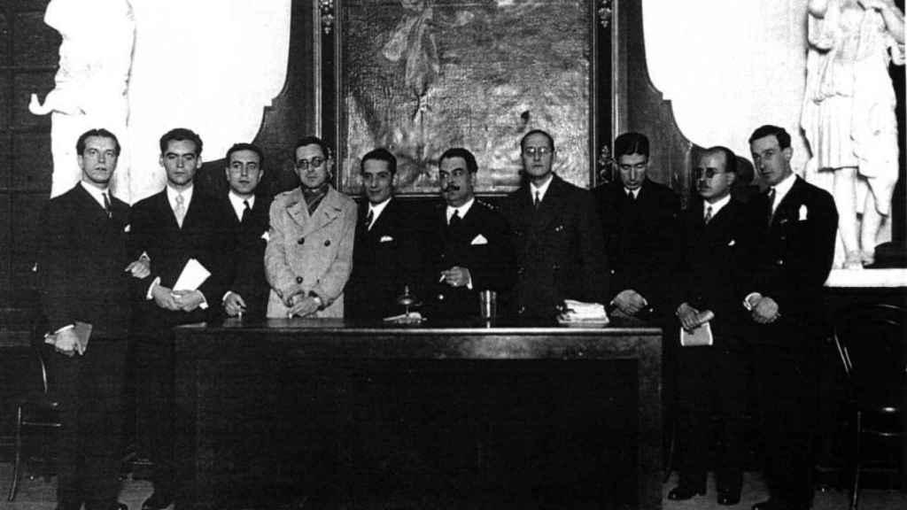 Generación del 27 en el Ateneo, celebrando a Góngora. Atribuida a Pepín Bello.