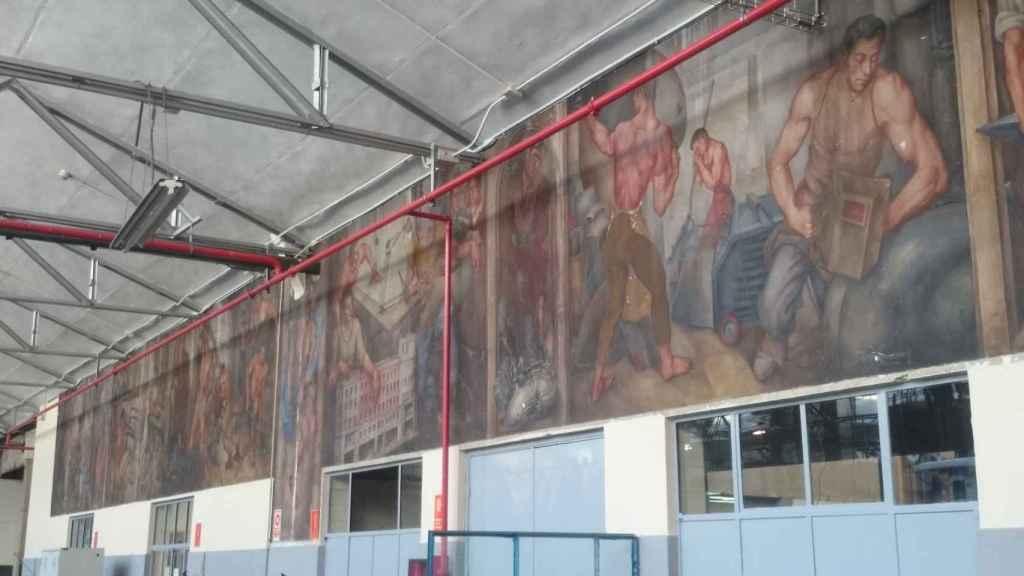 El mural de Germán Cano, en el interior.