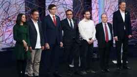 Los candidatos Arrimadas, Domènech, Mundó, Rull, Aragonés, Iceta y Albiol