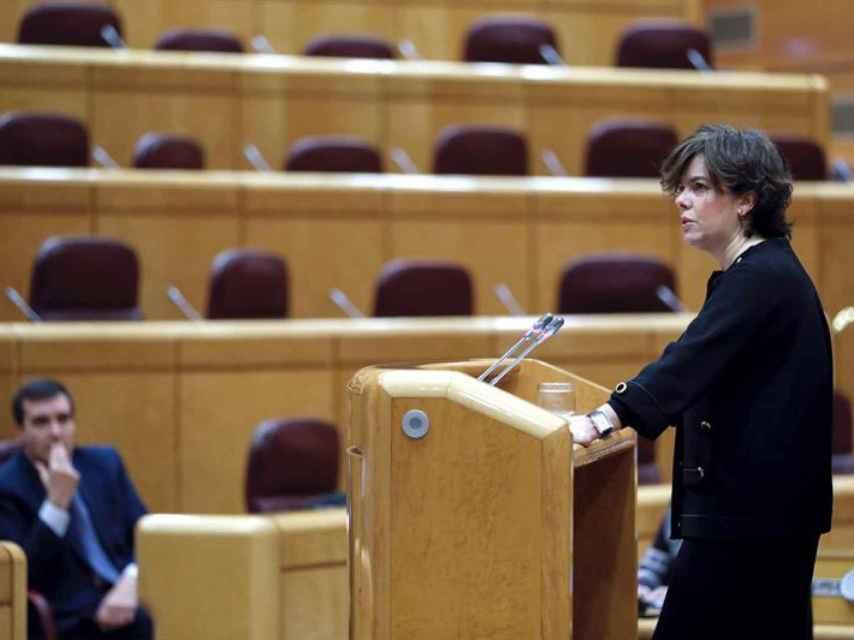 Sáenz de Santamaría habla sobre el 155 en el Senado esta semana.