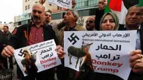 Palestinos queman una caricatura de Trump.