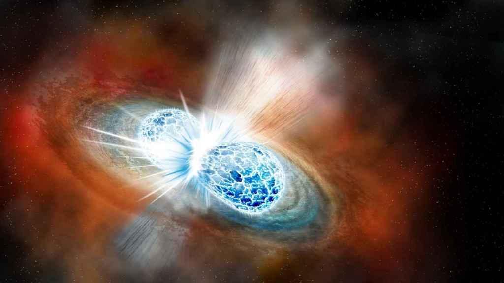 Representación de la fusión de las estrellas de neutrones.