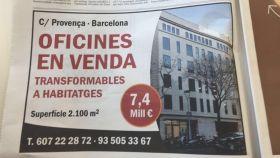 Anuncio publicado este viernes en la prensa catalana sobre la venta del edificio.