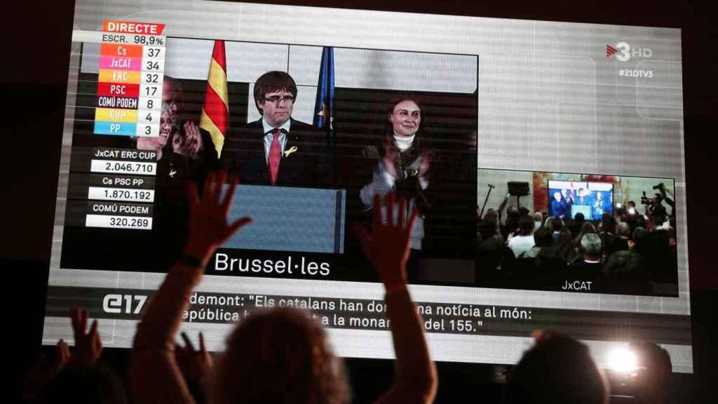 Carles Puigdemont en su comparecencia desde Bruselas para valorar los resultados del 21-D.