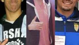Vito, Lucho y Calvo, los tres futbolistas de la Arandina detenidos.