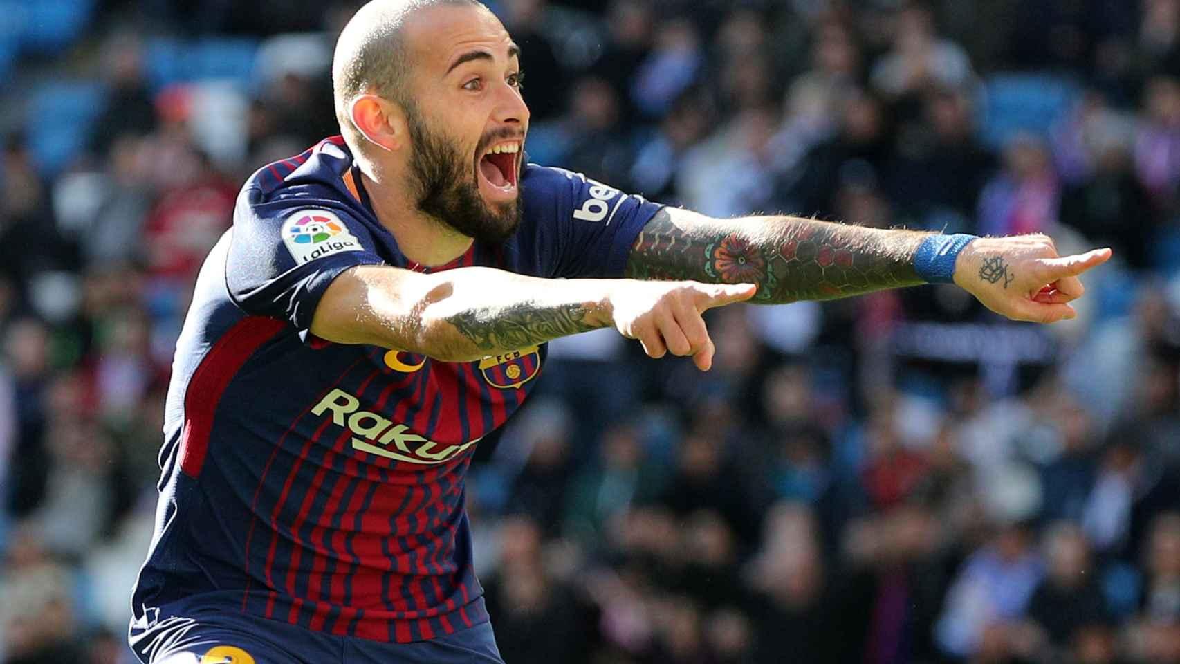 Aleix Vidal celebra el tercer gol.