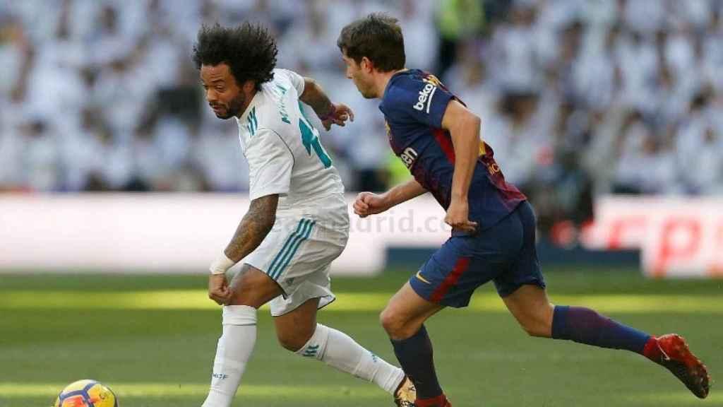 Marcelo, en el Real Madrid - Barcelona