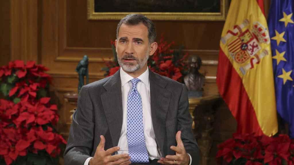 Felipe VI, durante el mensaje.