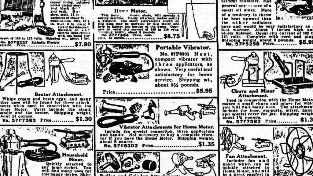 Anuncios de vibradores en el catálogo de productos de los almacenes Sears.