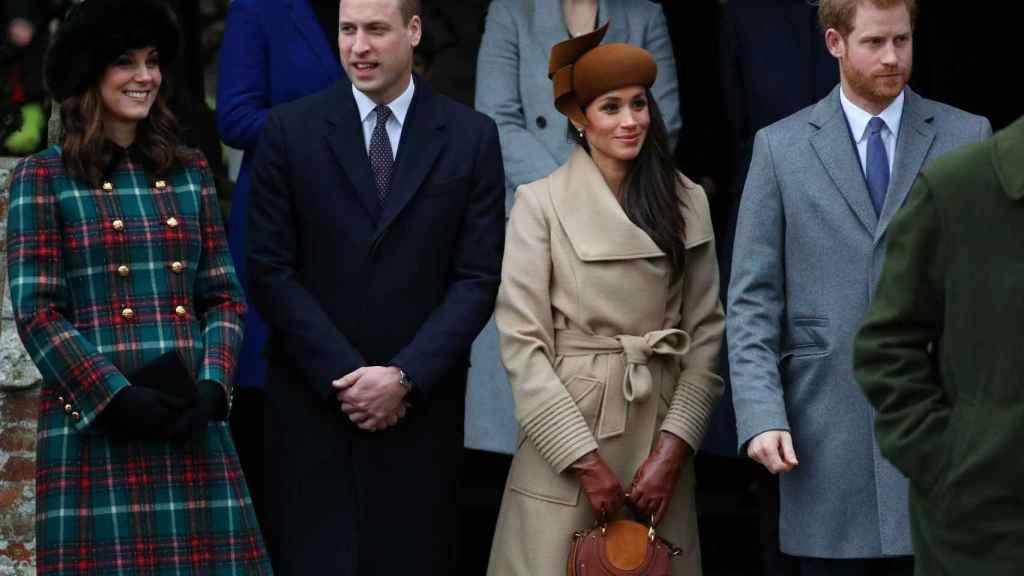 Meghan Markle y su prometido, junto a los príncipes de Cambridge.