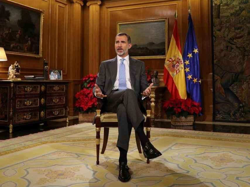 Felipe VI, durante el discurso de Navidad.