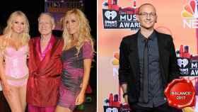Hugh Hefner, dueño de la Mansión Playboy, y Chester Bennington, cantante de Linkin Park.