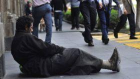Mendigo en las calles de Madrid.