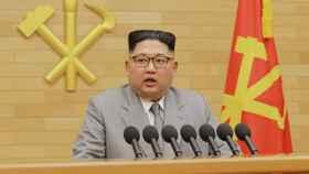 Kim Jong-un durante su discurso de Año Nuevo.