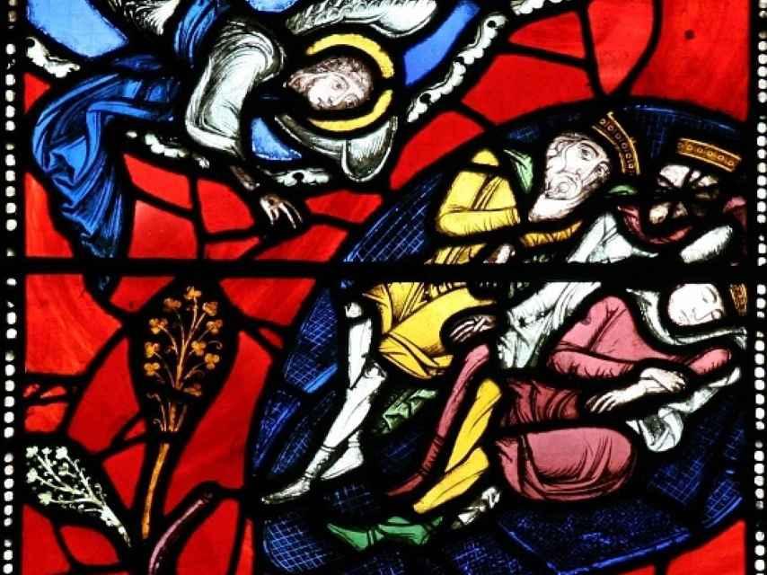 El sueño de los magos en una de las vidrieras de la catedral de Clermont.