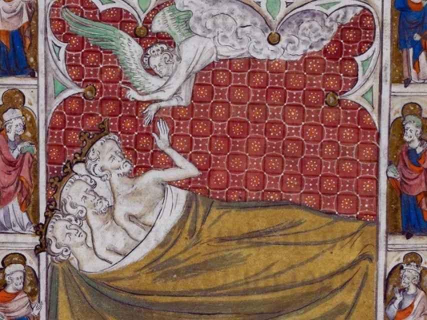 El sueño de los magos, en el Salterio de la reina María (siglo XIV).