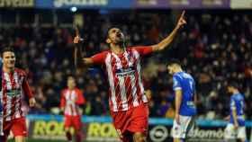 Diego Costa celebra su gol con el Atlético de Madrid ante el Lleida.