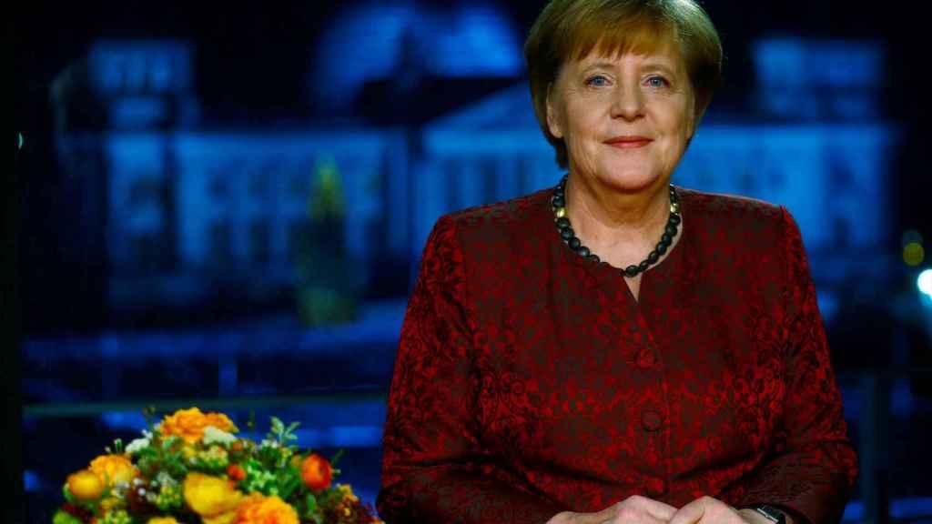 La canciller Merkel, durante su discurso de año nuevo