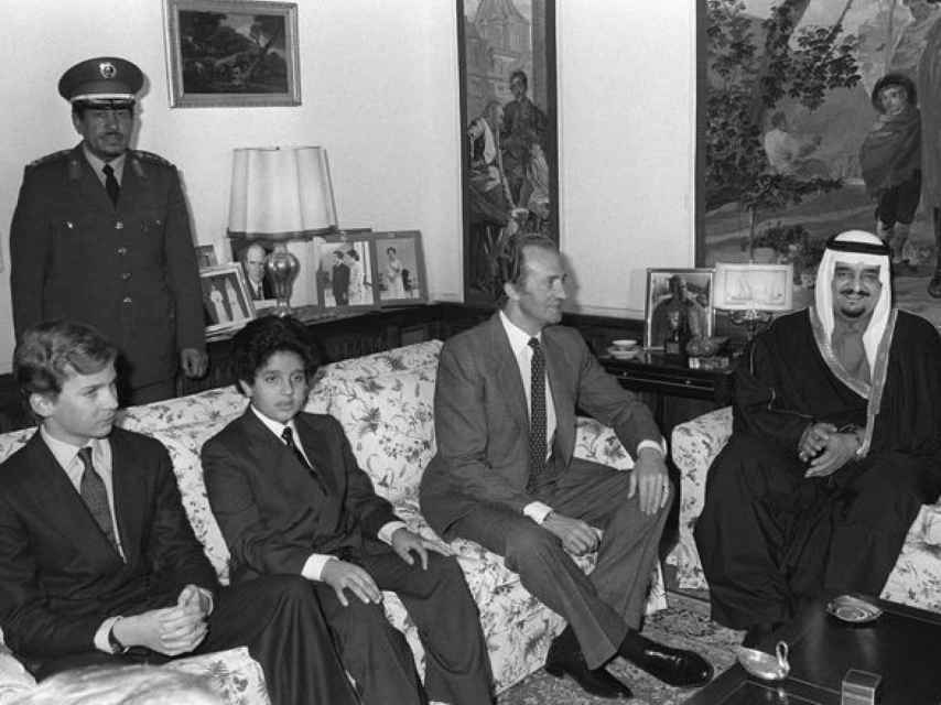 El rey Juan Carlos, en un almuerzo con el rey Fahd.
