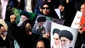 Manifestantes en una protesta a favor del Gobierno de Irán.