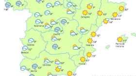 Previsión del tiempo en España para este viernes.
