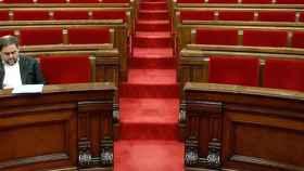 Junqueras, antes de un pleno del Parlament de la legislatura pasada.