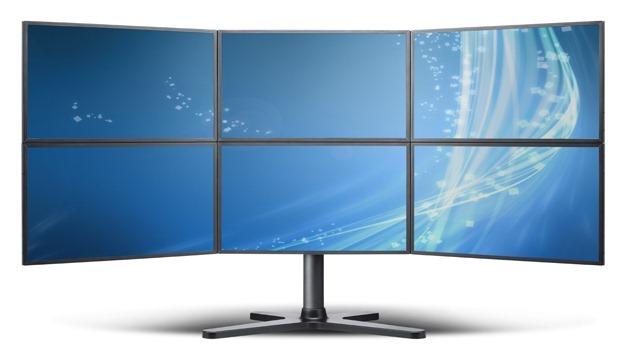 monitores juntos trabajo juego gaming pantallas
