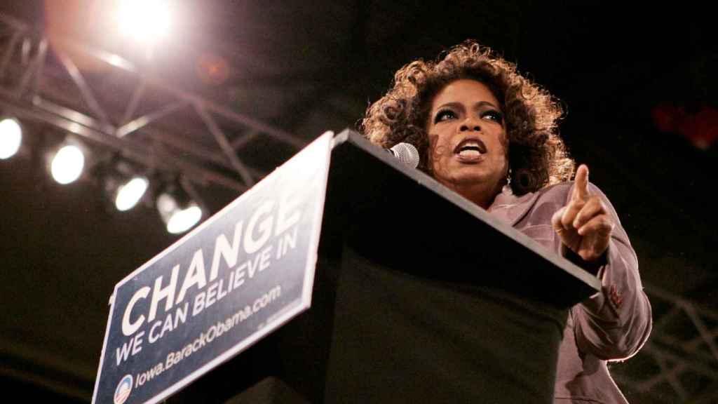 Winfrey en un mitin de Obama en 2007