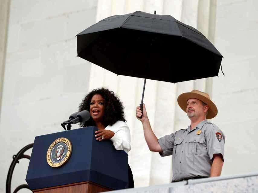 Winfrey en un discurso de los derechos civiles en agosto de 2013 en Washington