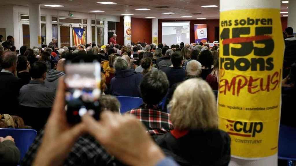 Acto a favor de la independencia en Montpellier, en el que Puigdemont intervino por videoconferencia.