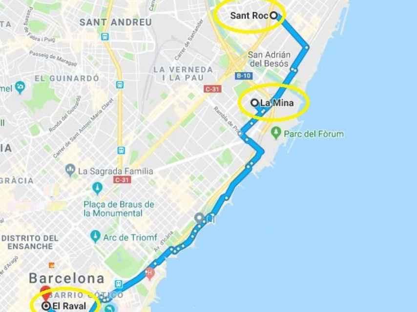 Los tres barrios están en el litoral barcelonés, a una distancia de menos de 10 kilómetros