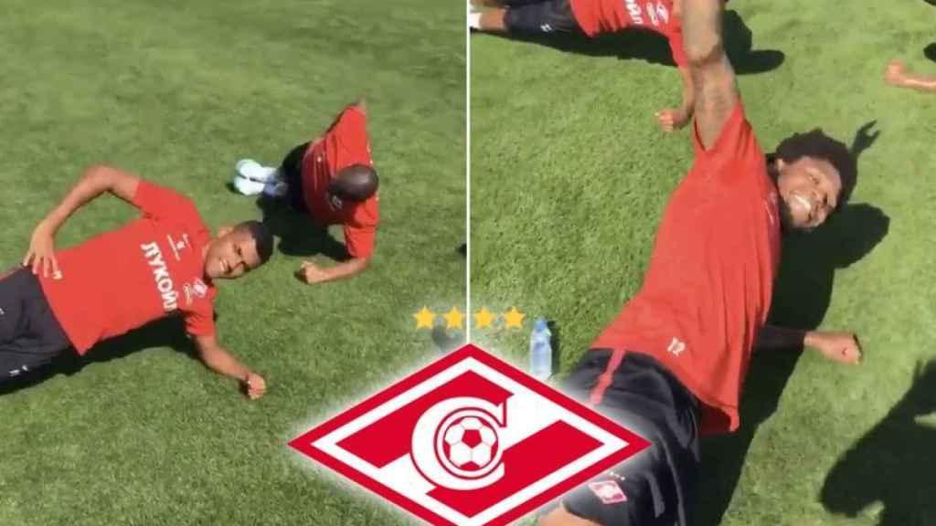 Imágenes del vídeo compartido por el Spartak de Moscú junto a su tuit racista.