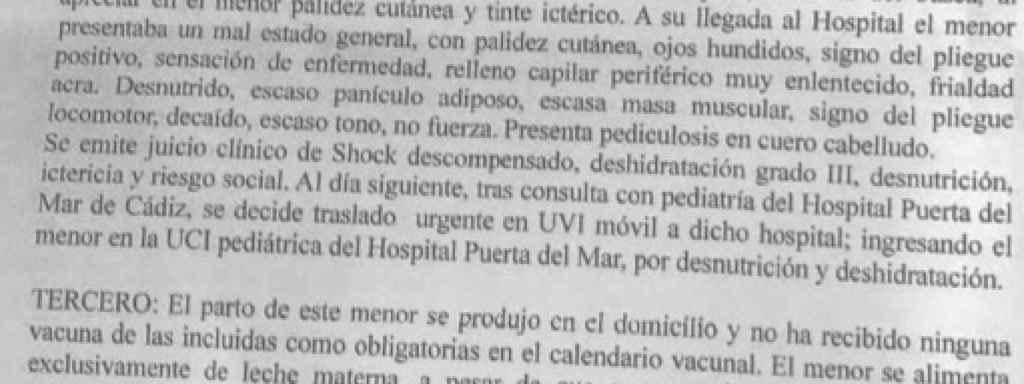 Cuadro clínico del bebé que aparece en el informe presentado por la Junta de Andalucía.