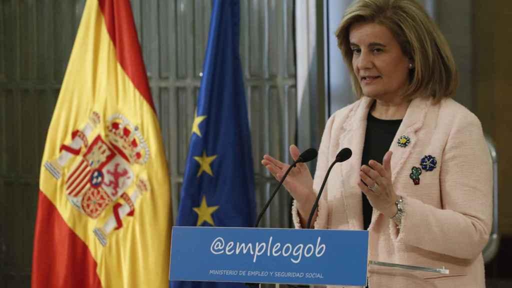 Fátima Báñez, durante el acto de presentación del libro de la OIT.