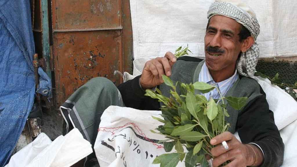 Un hombre mastica hojas de khat en Yemen. Tan ricamente