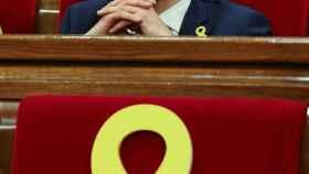 Roger Torrent, durante la sesión del Parlament de Cataluña.