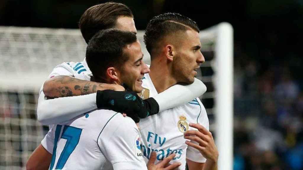 Celebración del gol de Lucas Vázquez