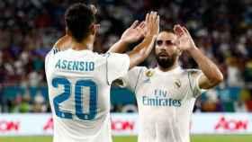 Asensio y Carvajal celebran un gol