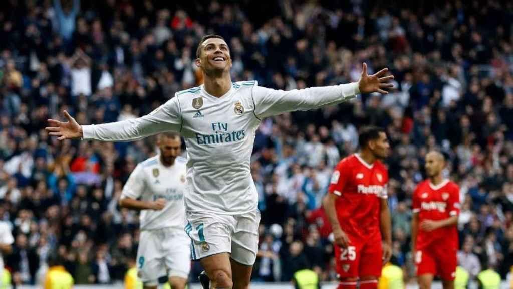 Cristiano, feliz con su gol