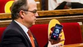 Turull, llamando este miércoles desde el Parlament al huido Puigdemont.