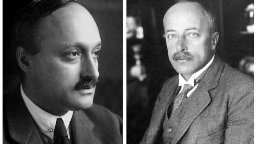 Los Premios Nobel James Frank y Max Von Laue.