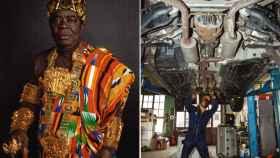 El rey Cephas Bensah trabaja en un taller en la ciudad alemana de Ludwigshafen mientras 'reina' Ghana.