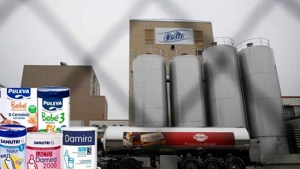 La fábrica de lácteos de Craon, Francia, junto a algunos de los productos retirados.