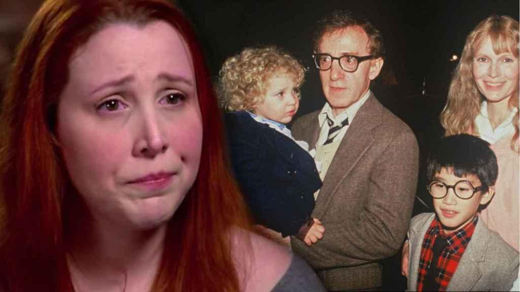 Dylan Farrow en la actualidad y en una foto antigua en brazos de Woody Allen.