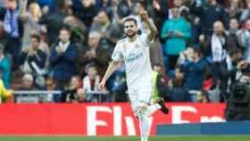 Nacho celebra su gol al Deportivo