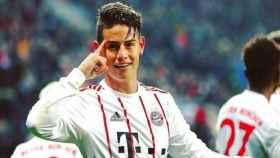 James Rodríguez celebra su gol ante el Leverkusen. Foto: Twitter (@jamesrodriguez)