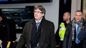 El expresidente Puigdemont a su llegada hoy al aeropuerto de Copenhague