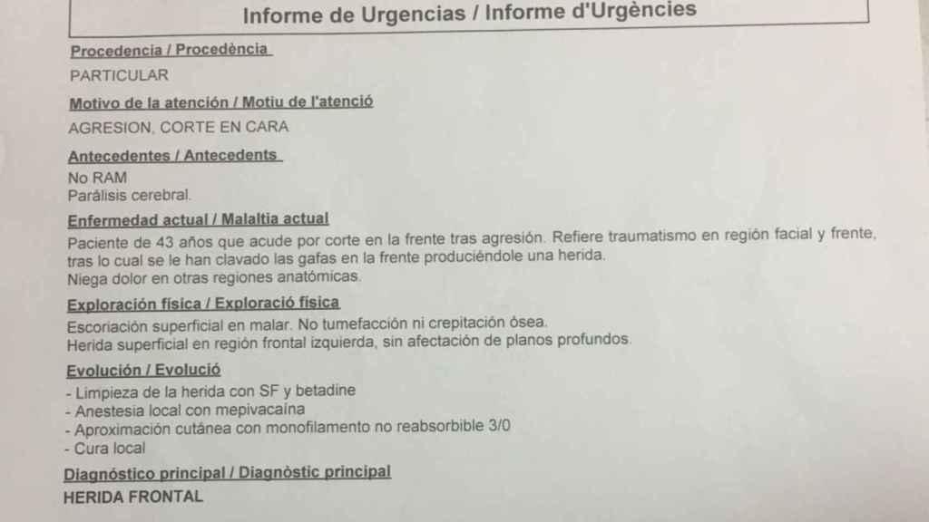 Parte médico de Enrique Marí tras recibir atención en el hospital Clínico de Valencia.