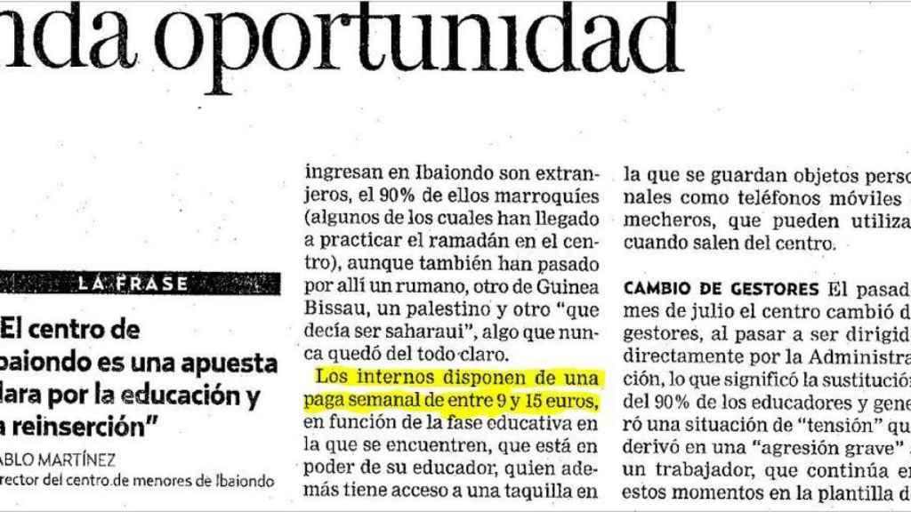 Los internos de Ibaiondo reciben una paga semanal para sus gastos, según informaba EFE en 2006