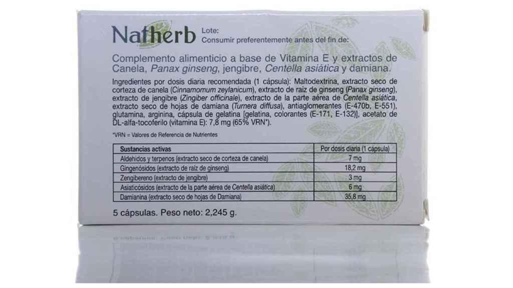 NatHerb solo describía productos naturales entre sus componentes.
